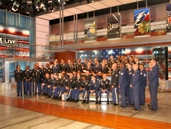 Troops with Jay and Dan on the set of FOX Sports Live