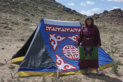 """A """"maikhant"""" or summer tent; me in my new del with the AFC Flag"""