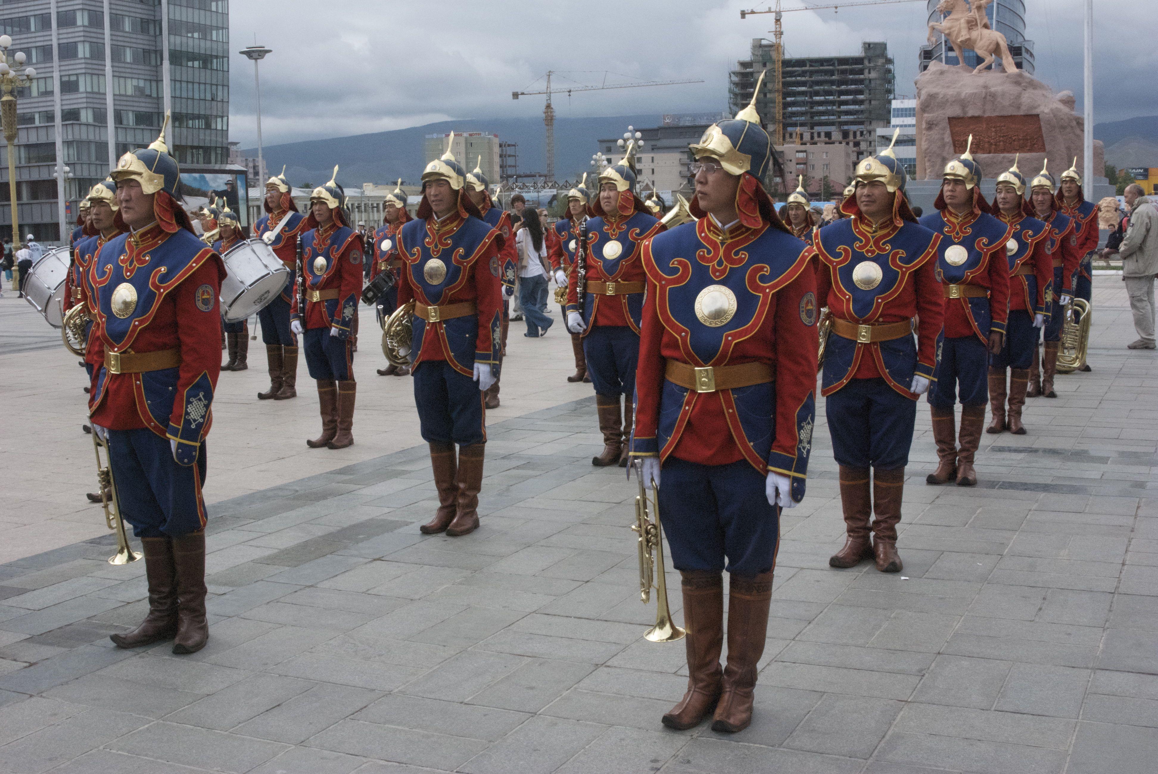 Start of national Naadam ceremony at Sukhbaatar Square, Ulaanbaatar; the band