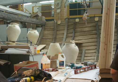 The dhow section under construction with some of the pot. A mould was taken from one of the real ones.