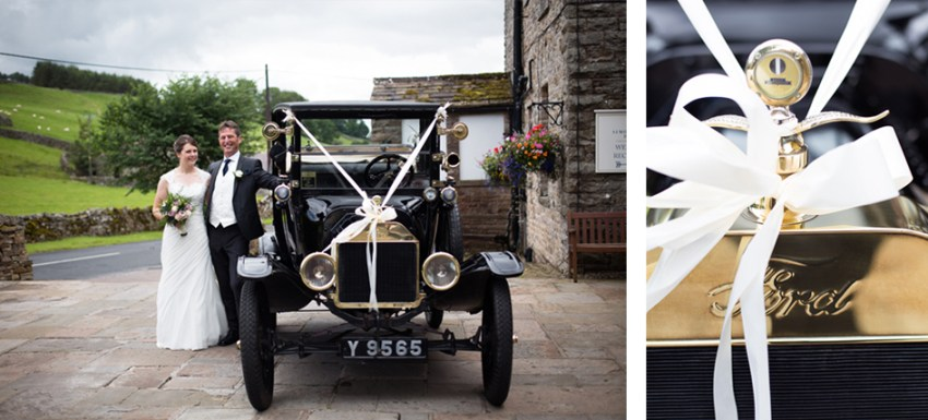 Bride and father stood by vintage wedding car, a black Ford, at Simonstone Hall in the Yorkshire Dales | wedding photography