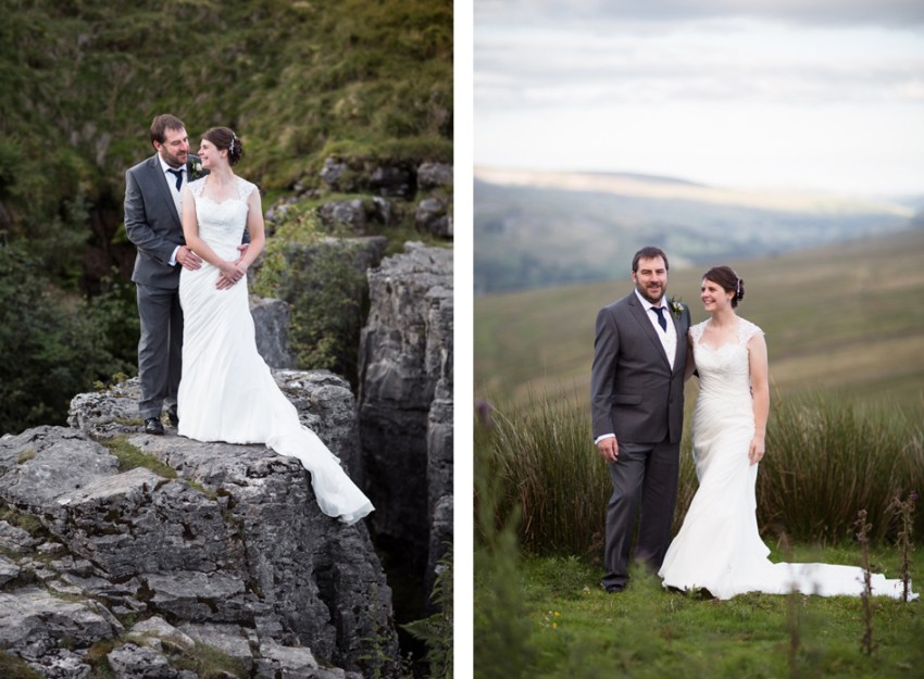 Simoonstone Hall wedding photographer | Photography of bride and groom with Yorkshire Dales backdrops