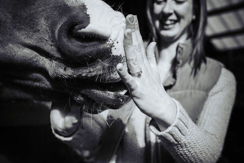Diamond engagement ring and horse | Yorkshire pre wedding photography