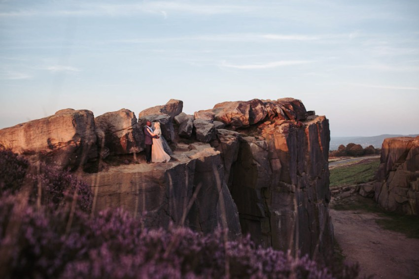 Natural Ilkley moor wedding photography at Cow and Calf rocks