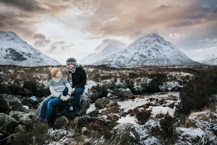 Glen Coe landscape in snow engagement photography | wedding photographer Yorkshire UK