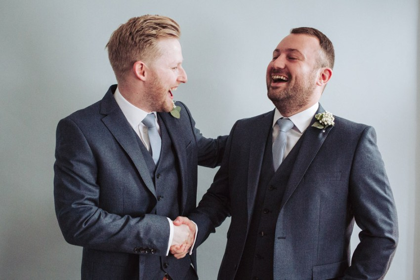 Groom and his best man during prep | Natural documentary wedding photography, Yorkshire