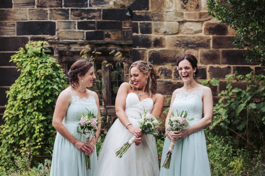 Sweetheart lace wedding dress with pastel turquoise lace bridesmaids dresses