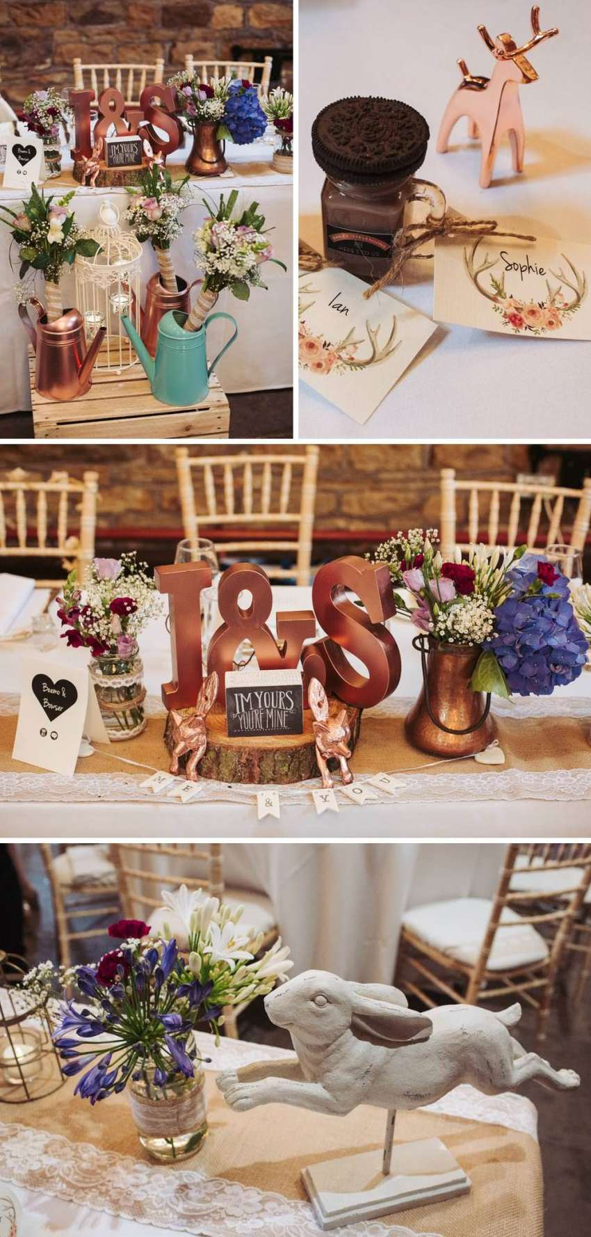 Ivory, white, gold and purple rustic woodland DIY wedding decorations at Oakwell Hall.