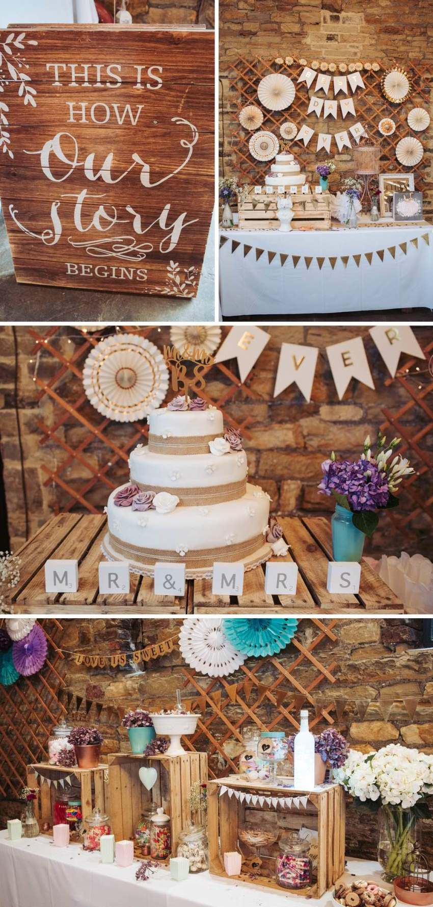 Ivory, white, gold and purple rustic DIY wedding decorations at Oakwell Hall.