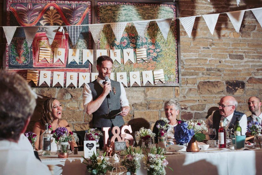 Oakwell Hall wedding photography Leeds, Yorkshire | historical, vintage, rustic barn venue | The grooms speech