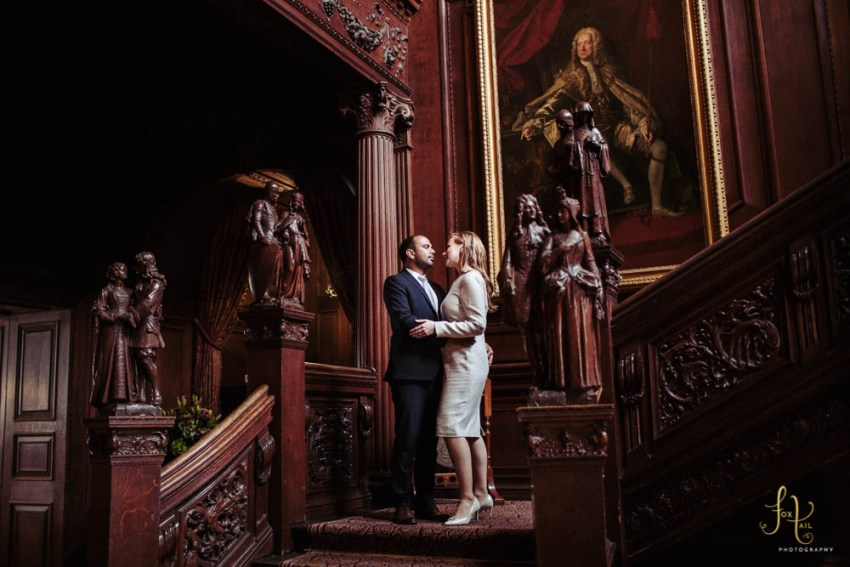 Cliveden House Wedding Photographer portrait of bride and groom on the staircase by Yorkshire wedding photographer UK