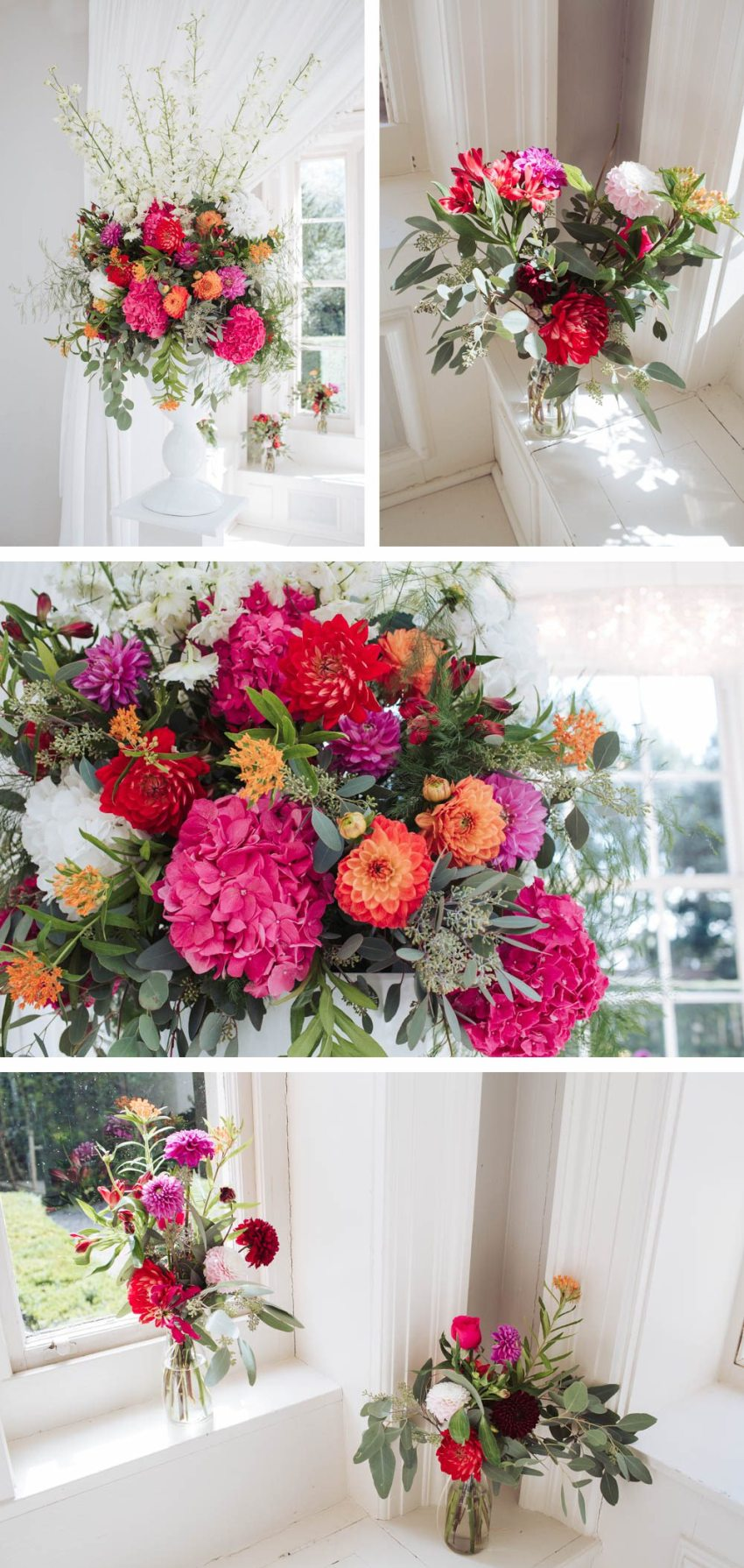 Colourful wedding floral display in the orangery at Saltmarshe Hall