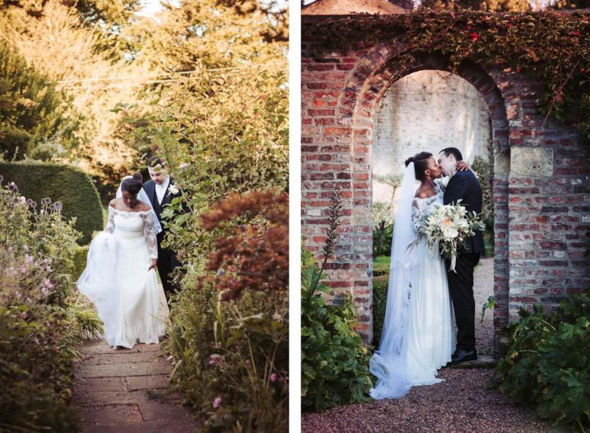 Bride and groom kiss in the walled garden | Saltmarshe Hall wedding photography East Yorkshire