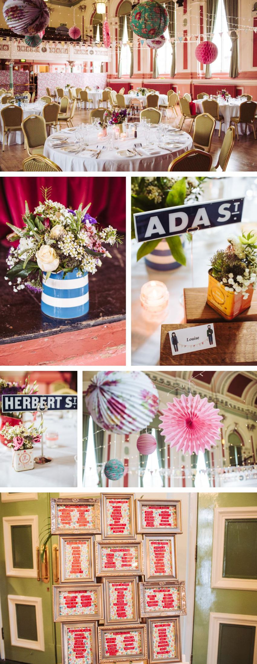 Saltaire Victoria Hall wedding with vintage retro decorations. Including Dymo gun table planner and vintage tins for florals.