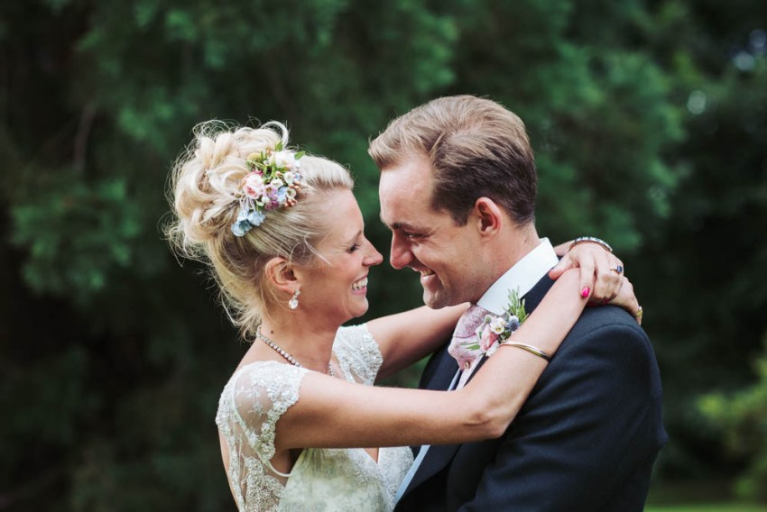 Natural Harrogate wedding photographer. Bride and groom, Celia Brook and Ted Innes Ker on their wedding day.