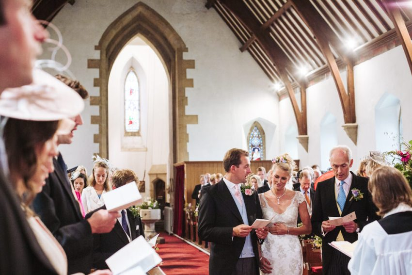 Wedding ceremony at All Saints Church in Staveley, York, Yorkshire.
