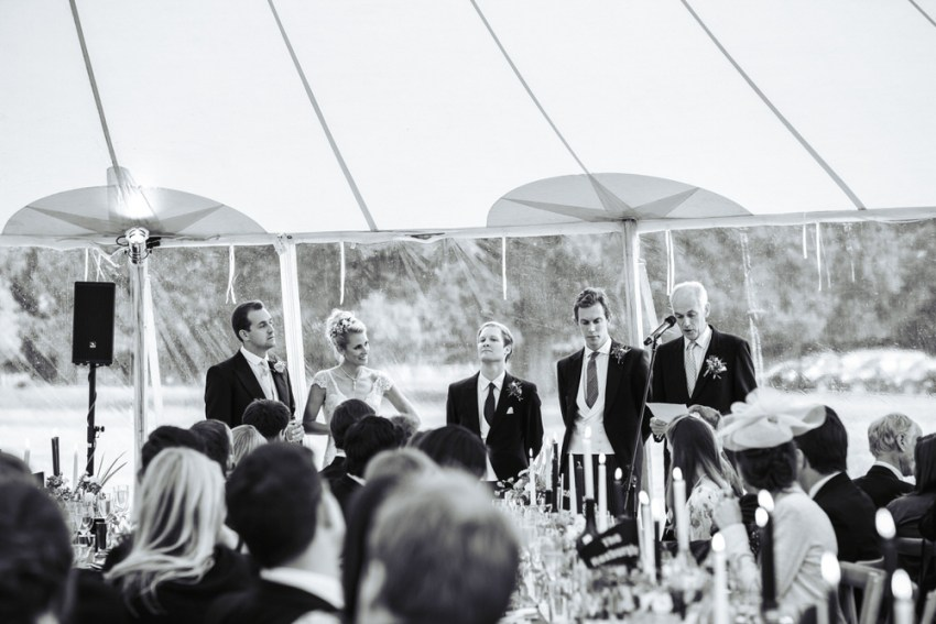 Wedding speeches in Papakata marquee York.