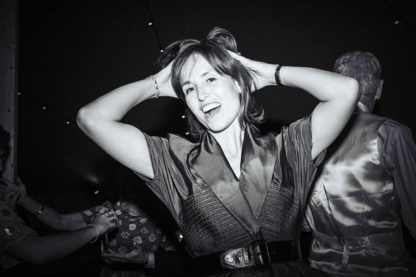 Wedding guest throws some moves on the dance floor. Reportage photography York UK.