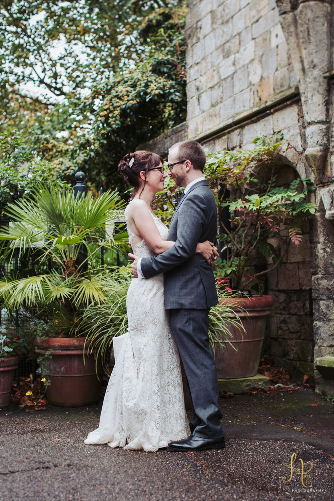 York registry office wedding and Star Inn The City reception, bride and groom portrait in the Museum Gardens.