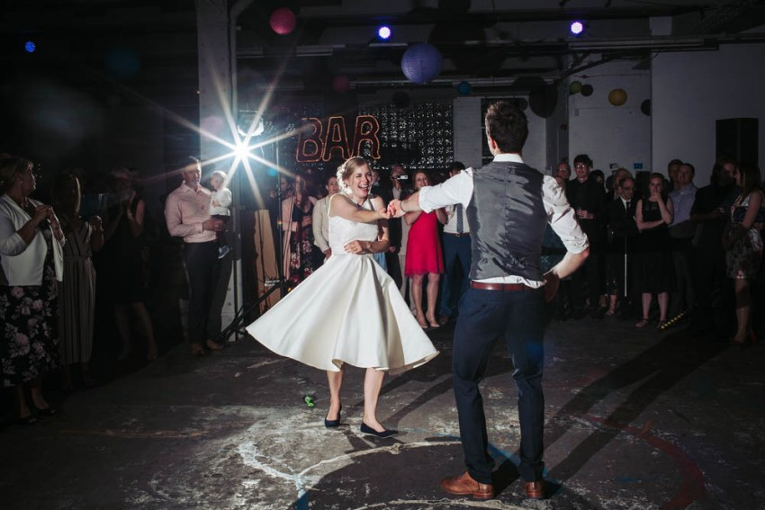 Trafalgar warehouse wedding first dance.