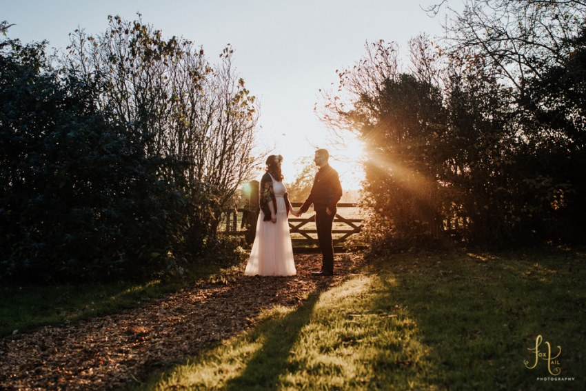 Hornington Manor wedding photography York - Bride and groom at sunset