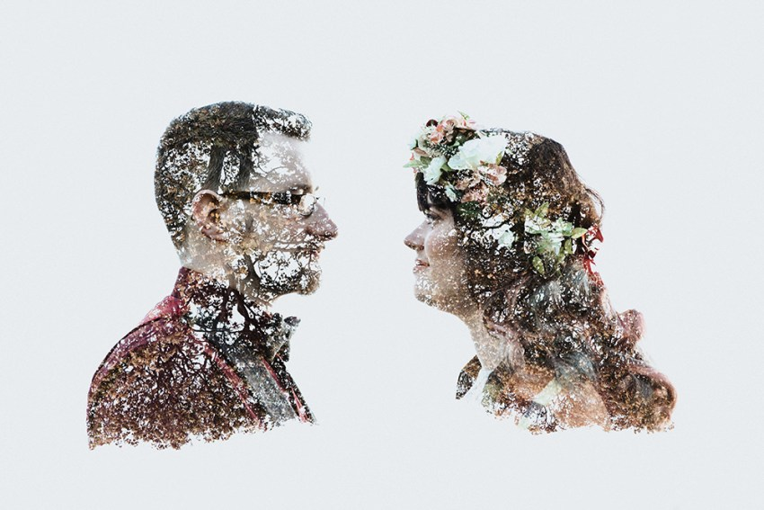 Creative wedding photography York | Double exposure portrait of bride and groom