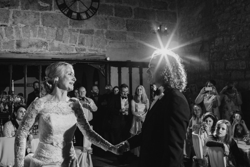 First dance at wedding. Black and white photo.