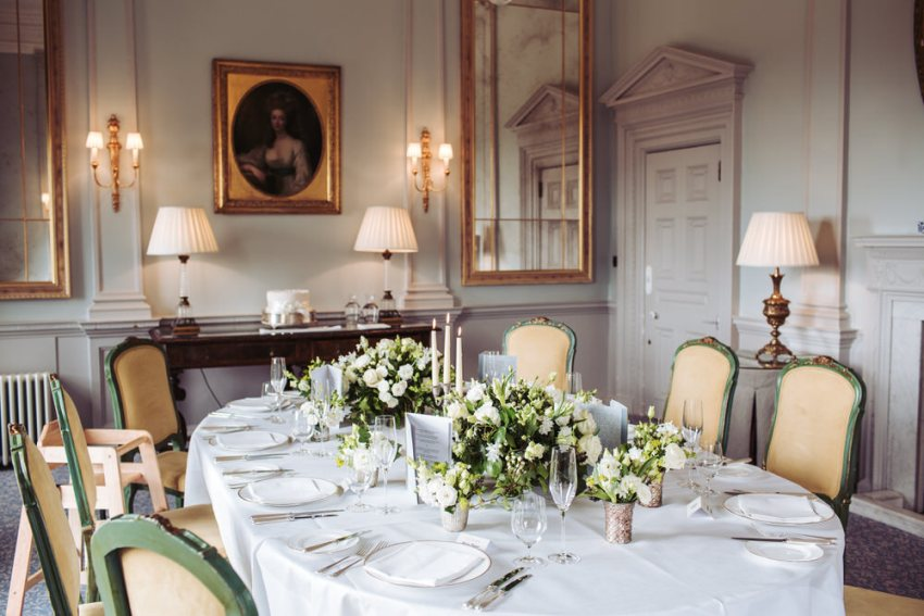 Small wedding reception room at Cliveden House in Berkshire.