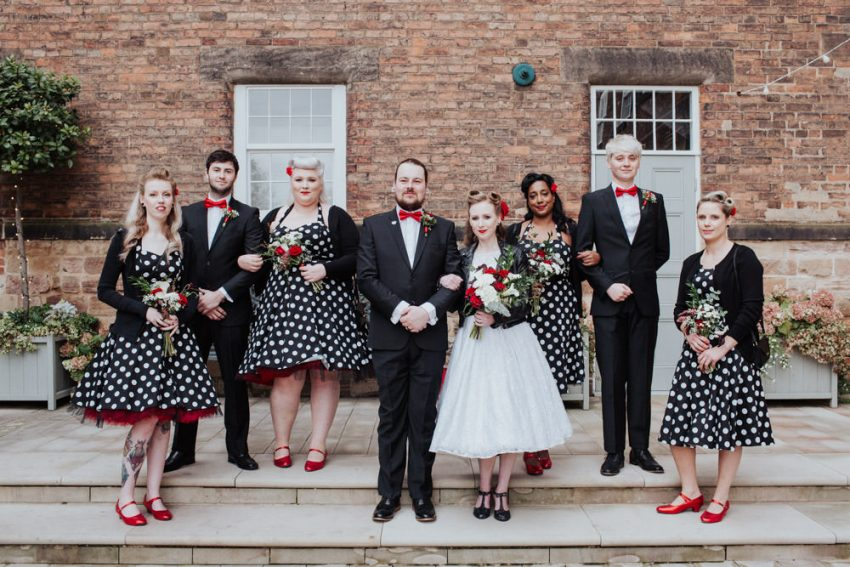 Rockabilly wedding party.