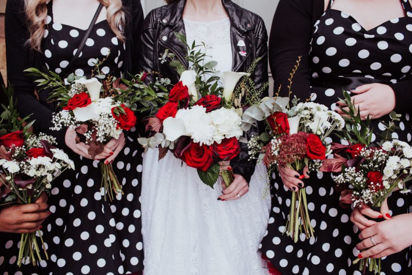 Rockabilly wedding flowers.