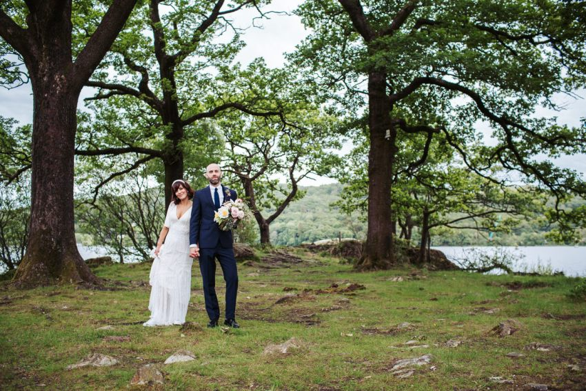 Bride and groom at Grubbins point wedding in the Lake District for a Silverholme Manor wedding.