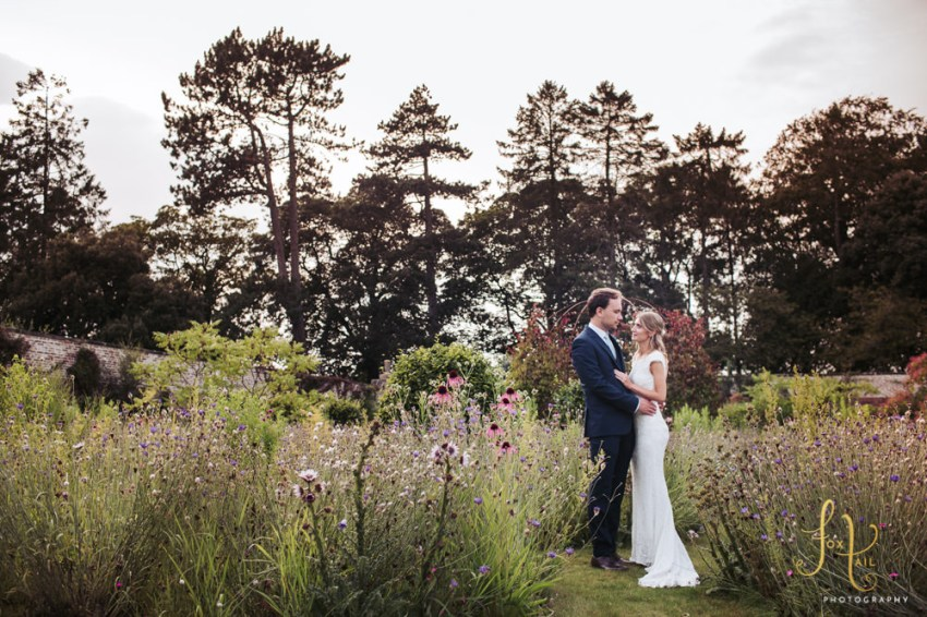 Fig House wedding, Middleton Lodge wedding photography. Photo of bride and groom in the walled garden.