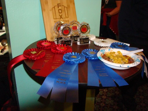 Bamboo cutting board, Ribbons and acrylic awards for 1st Place Prize