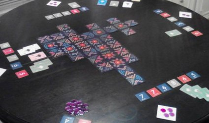Prototype of Lanterns with tile artwork from Print & Play Productions