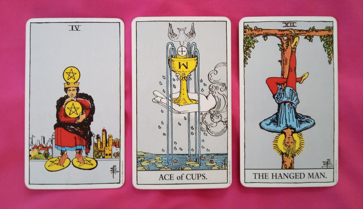 daily online tarot reading cards: 4 of Pentacles, Ace of Cups, The Hanged Man