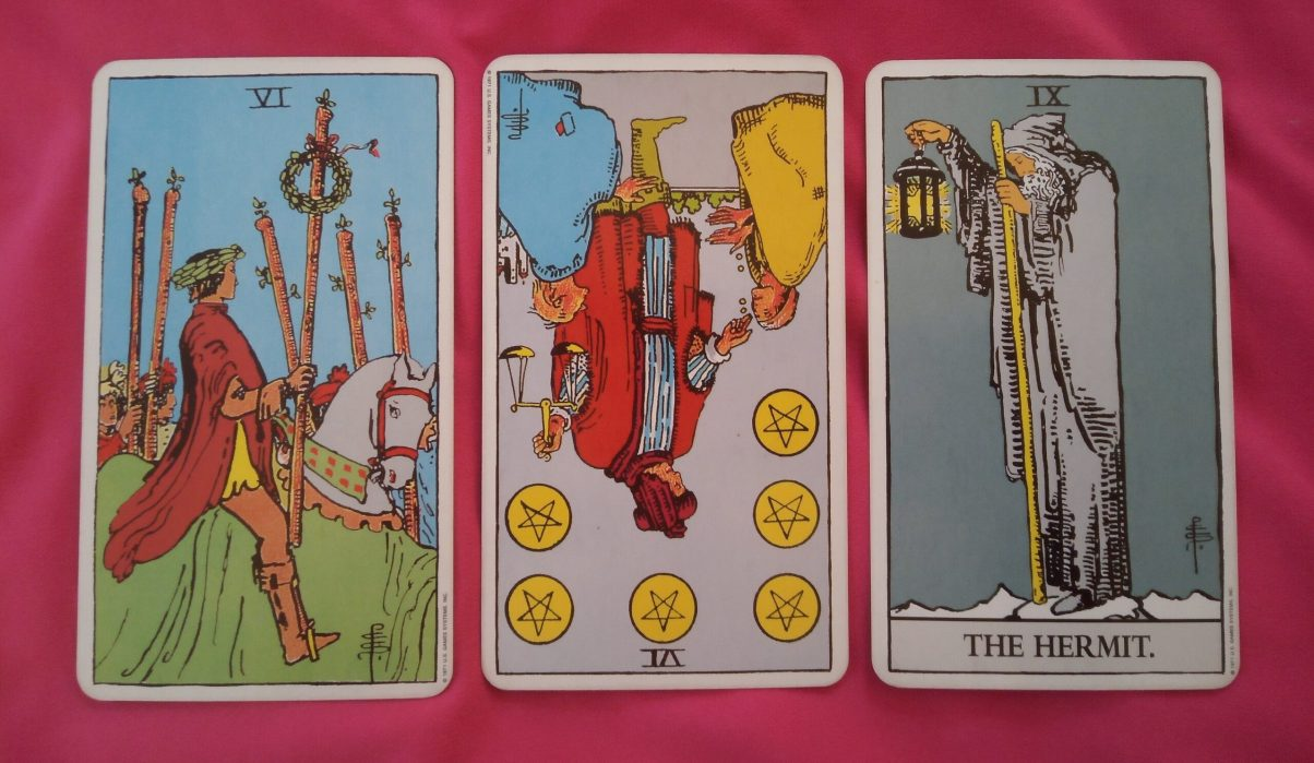 daily online tarot reading cards: 6 of Wands, 6 of Pentacles and The Hermit