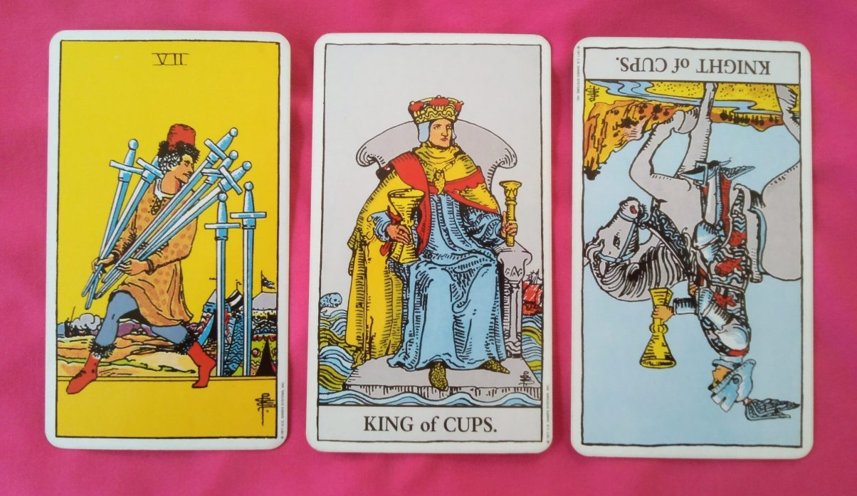 weekly online soul purpose tarot reading cards: 7 of Swords, King of Cups, Knight of Cups reversed