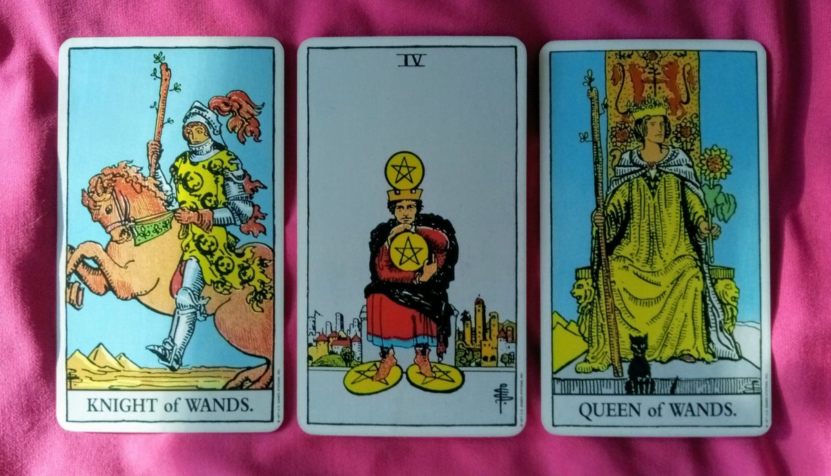 Weekly Online Soul Purpose Tarot Reading Cards: Knight of Wands, 4 of Pentacles and Queen of Wands
