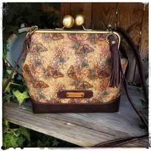 handgemaakte beugel tas kurk met vlinders