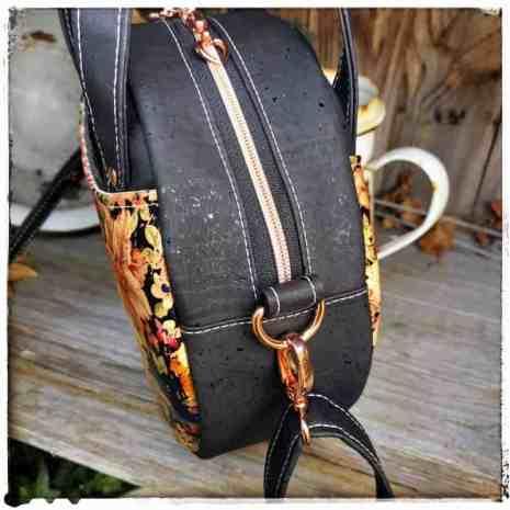 ronde kurk tas zwart detail