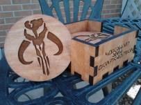 Mandalorian Mythosaur Skull Coaster Set, made of Laser Engraved Pine, hand sanded and finished with Cherry Danish Oil