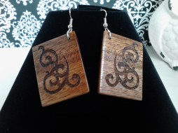 African Mahogany Laser Engraved Earrings - Hand cut, sanded & varnished