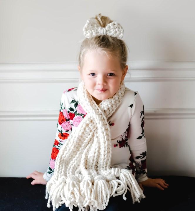 Crochet Scarf And Hair Bow Tutorial Foxy Twine