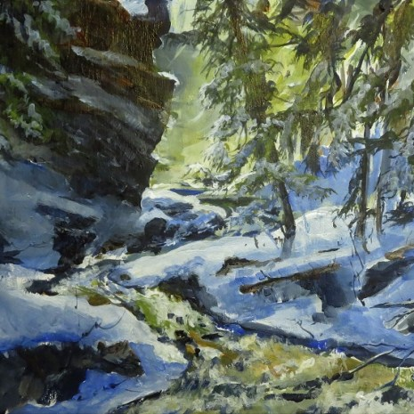 03_Scott_Rubie_Rushing Waters in the Gorge_acrylic on panel_2020_9 x 16 x ¼