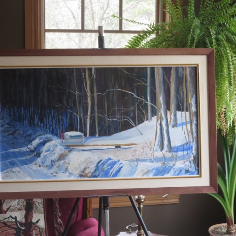10_Scott_Rubie_Mailbox in the Snow_acrylic on panel_2020_32 x 18 x ¼ in context