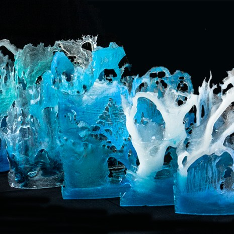 Eiko Emori Ocean Waves glass (pâte de verre) about 10x14x2 each $1,200 or $230 each