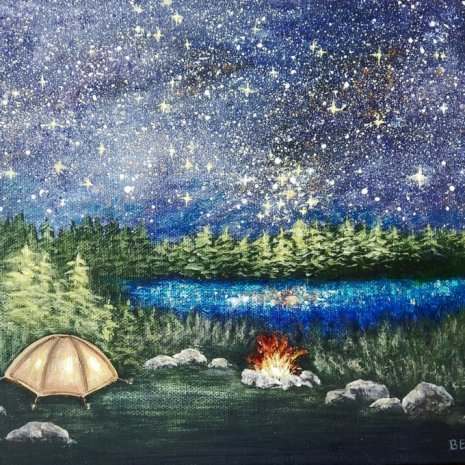 Beata_Jakubek_Starry_Night__Camping_acrylic_8__x12