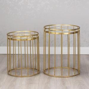 Cage Side Tables with Mirror Round