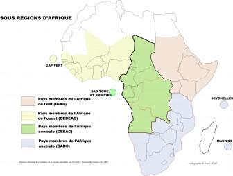 carte sousrégions afrique sub das