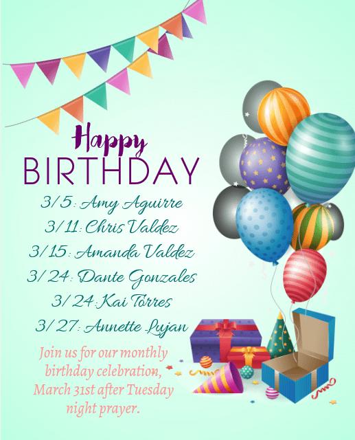 March Birthdays